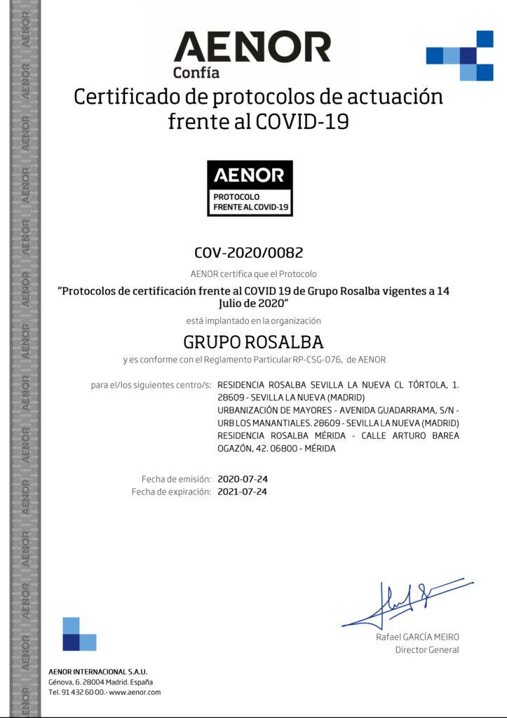 Certificado de protocolos de actuación frente al COVID – 19 con el nº COV-2020/0082