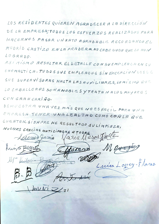 Carta de los residentes de Rosalba Sevilla la Nueva